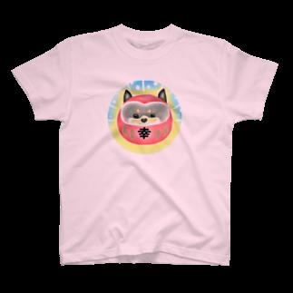 パステルドギーのだるま犬・柴犬黒 T-shirts