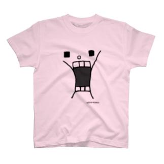ウサギのウーの「かおドーン」(グレー版) T-shirts