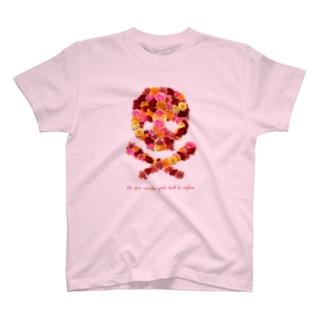 スカル君とスケルちゃんのフラワードクロ(レッド) T-shirts