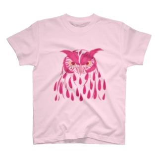 フクロウ・ピンク Tシャツ