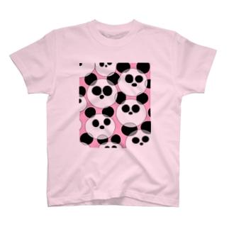 パンダパンパンダ ピンク T-shirts