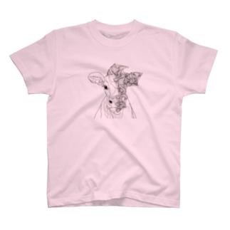 幾何学模様と牛 T-shirts