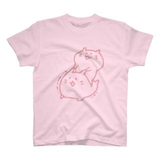 むにむにハムスター(ピンク線) T-shirts
