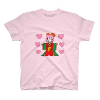 ジュウニヒトンエ(十二単豚衣)withハート!! T-shirts