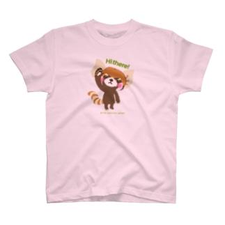 """大耳のレッサーパンダ """"Hi there!"""" T-shirts"""