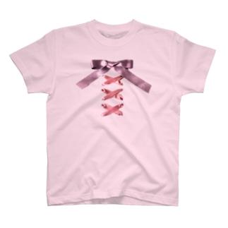 Pink × Lavender Lased-up Ribbon T-shirts