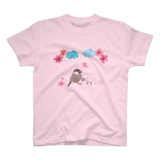 シナモン文鳥と白文鳥のカップル T-shirts