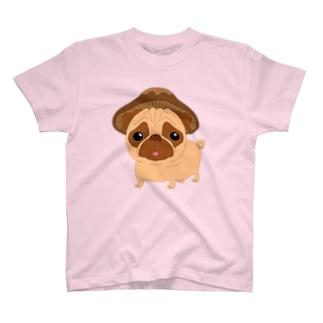 パグ椎茸Qにゃんバックプリント入り② T-shirts
