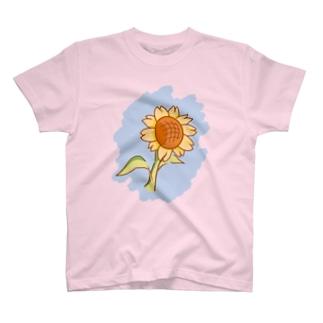 夏といえば向日葵(空色) T-shirts