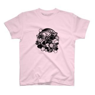 ガヤガヤモノクロ T-shirts