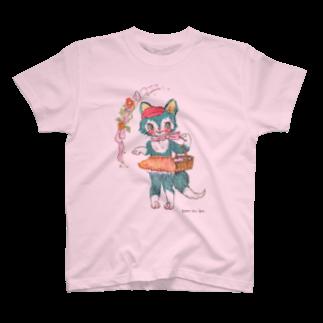 yummy.toy boxの青ねこちゃんのお買い物 T-shirts