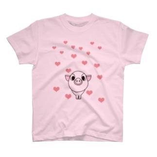 ピンクブタ T-shirts