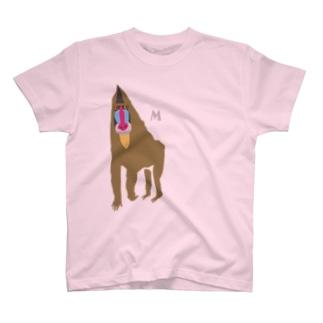 しまのなかまfromIRIOMOTEのAWZマンドリル(大)両面 T-shirts