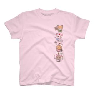 忙しいねこたち メディカル T-shirts