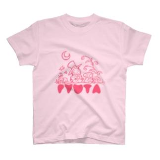 フシギの森のピュータ pink T-shirts