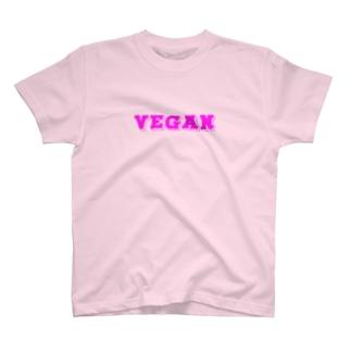 VEGANロゴ(PINK) T-shirts