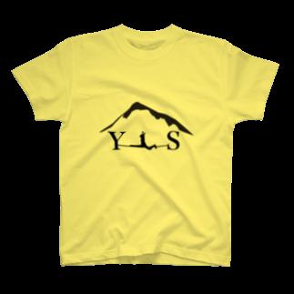 YASHIMA-SLACKLINESのYSスプレッド-ブラックTシャツ