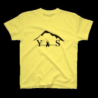 YASHIMA-SLACKLINESのYSダブルドロップニー-ブラックTシャツ