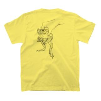 a kaeru in the hand オオヒキガエル バックプリント T-shirts