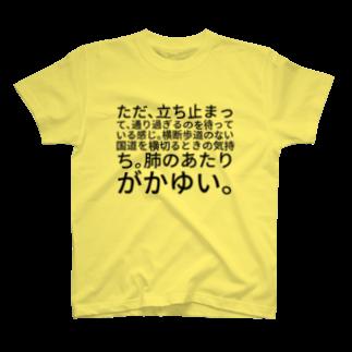 山本リエのただ、立ち止まって、通り過ぎるのを待っている感じ。横断歩道のない国道を横切るときの気持ち。肺のあたりがかゆい。 T-shirts