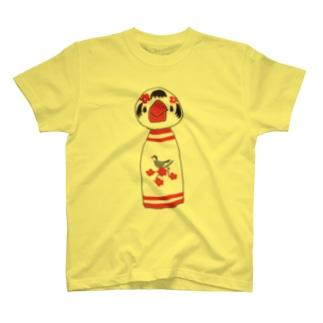 文鳥柄の文鳥こけし T-shirts