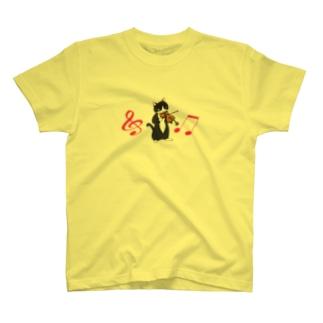 バイオリンを弾く猫(音符付き) T-shirts