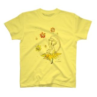 幸せのお花とさる T-shirts
