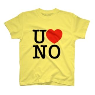 I LOVE UNO(黒文字) T-shirts