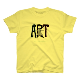 art「自由」イラスト白黒。文字水色。 T-shirts
