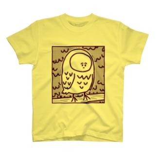 顔のやつふくろう ボルドー T-shirts