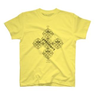 lyricchordハート黒ライン/ドローイングアート T-shirts