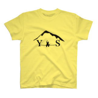 YASHIMA-SLACKLINESのYSダブルドロップニー-ブラック T-shirts