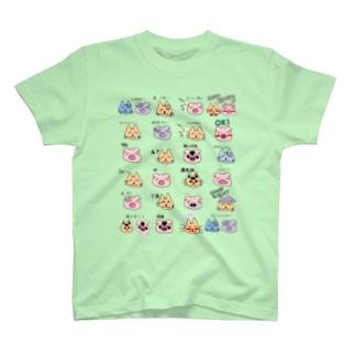 ネコブタスタンプTシャツ T-shirts