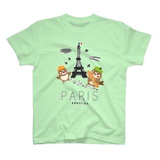 aliveONLINE SUZURI店のHello! すずめだいきち(PARIS) T-shirts