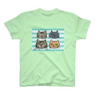歴代にゃんズゆるゆるフェイス T-shirts