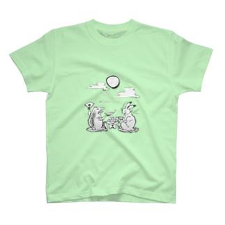 鳥獣戯画オリジナル001-お月見 T-shirts