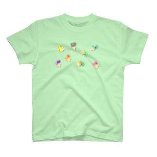ゆるあしゆびふれんずモザイク T-shirts