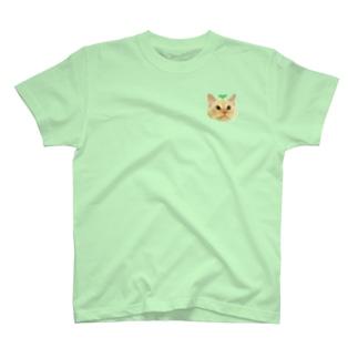 左胸にワンポイント🐶双子葉類ちゃん🐱🌱 T-shirts