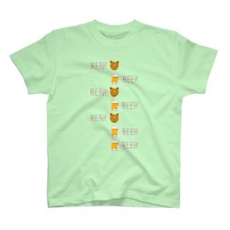 ビールデザインTシャツ「ベアビアベアビアベアビアビア」 T-shirts