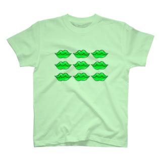 消しゴムはんこ 琴の店のくちびる グリーンリップ T-Shirt