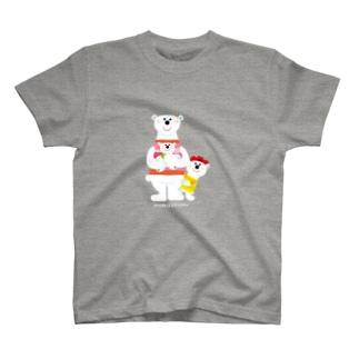 シロクマ家族 Tシャツ