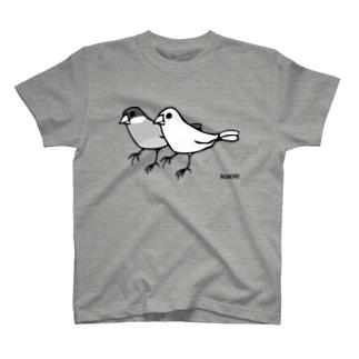 桜と白の文鳥 Tシャツ