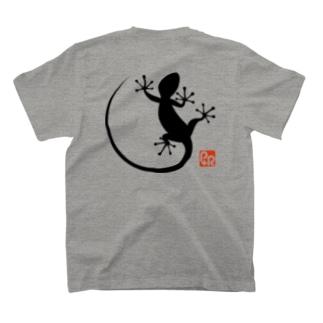 落ちないヤモリ(背面)黒 T-shirts
