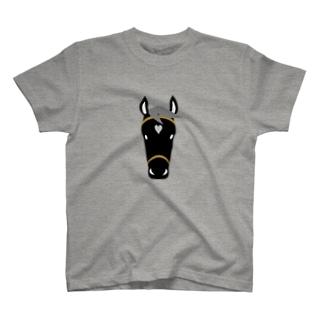 馬(黒毛) T-shirts