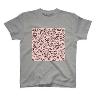 ひょう柄猫ちゃんピンク T-shirts