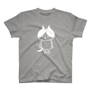 ハチワレキャット(白) T-shirts