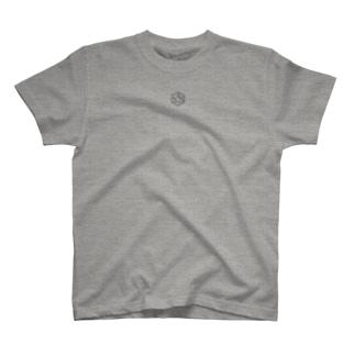 胸の中央にロゴ、後ろにテキストな T-shirts