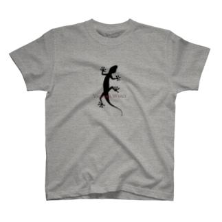 ヤモリシルエット_ロゴ入り T-shirts