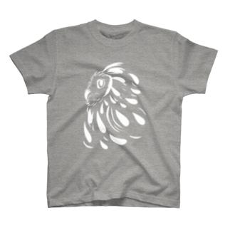 横顔フクロウホワイト T-shirts
