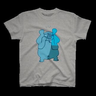 shirokumasaanのカメラ小僧 青 T-shirts